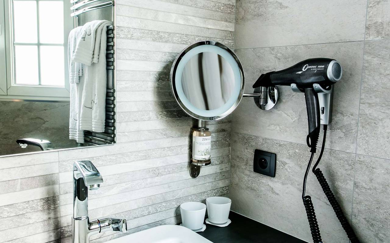 Bathroom with hairdryer 4-star hotel Dijon