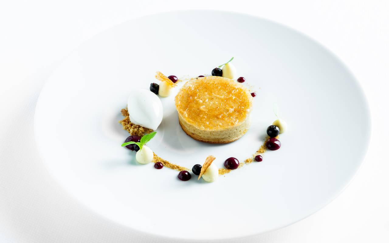 Refined dish luxury hotel Dijon Chapeau Rouge