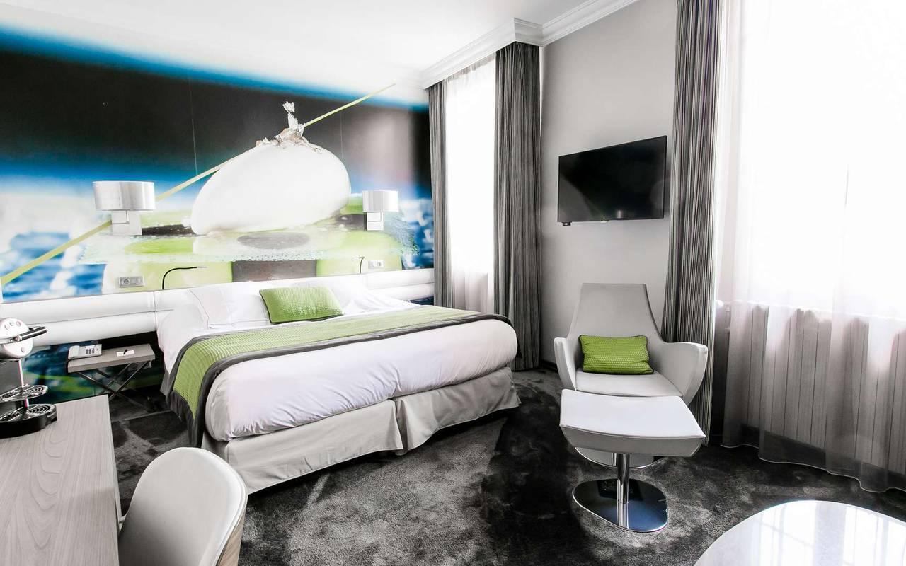 Chambre Contemporaine hôtel luxe Dijon Chapeau Rouge